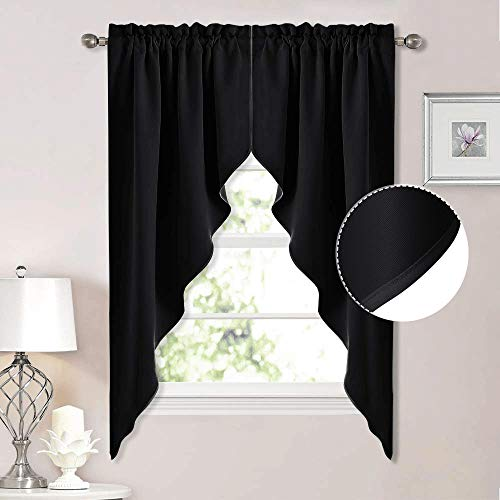 """NICETOWN Blackout Window Treatment Pole Pocket Kitchen Tier Curtains- Tailored Scalloped Valance /Swags (2 Panels, 36"""" W X 63"""" L Each Panel, Black)"""