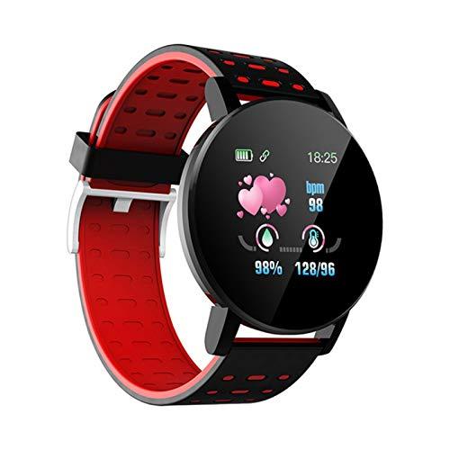 CGGA 2020 Bluetooth SmartWatch Hombres Mujeres Presión Arterial Ritmo cardíaco del Deporte FitenessTracker Pulsera for Android iOS Inteligente Reloj Redondo (Color : 119 Red)