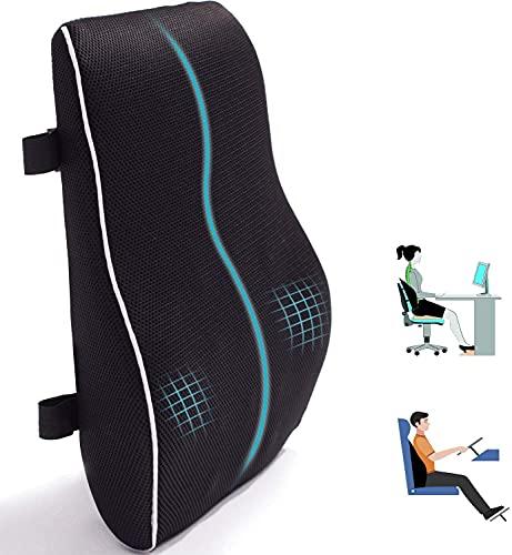 Rückenkissen Auto Rücken-Kissen Lendenkissen für Bürostuhl Gedächtnis Schaum Rückenkissen geeignet für Zuhause, Büro, Auto, Rollstuhl schwarz groß