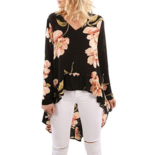 Ba Zha HEI Elegant Frauen Blumendruck Langarm Shirt Bluse Rüschen Unregelmäßige Damen Bluse Elegant Chiffon Langarm Tunika Leicht V-Ausschnitt Festliche Blusen mit Einstellbare Tops (Schwarz, XXL)