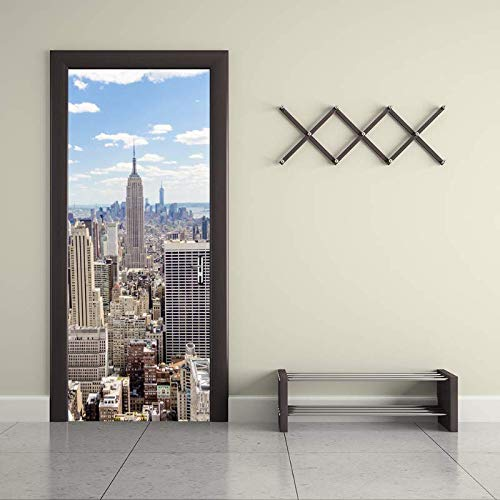 Vinilo Puerta Pegatina Para Puerta Pegatina Para Papel Tapiz Autoadhesiva, Pegatina Para Puerta En 3D Ciudad De Nueva York, Mural De Vinilo Resistente Al Agua, Desmontable, 77 Cm X 200 Cm