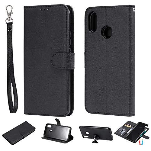 nancencen Kompatibel mit Huawei P Smart Plus/Enjoy 7s Plus/Nova 3i Handyhülle, Magnetische TPU 2 in 1 Wallet (Karten Slot) Schutzhülle PU Leder Flip Cover Lederhülle Hülle - Schwarz