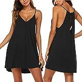 Ekouaer Womens V Neck Sleeveless Nightgown Sleepwear Summer Slip Night Dress,Black,Small