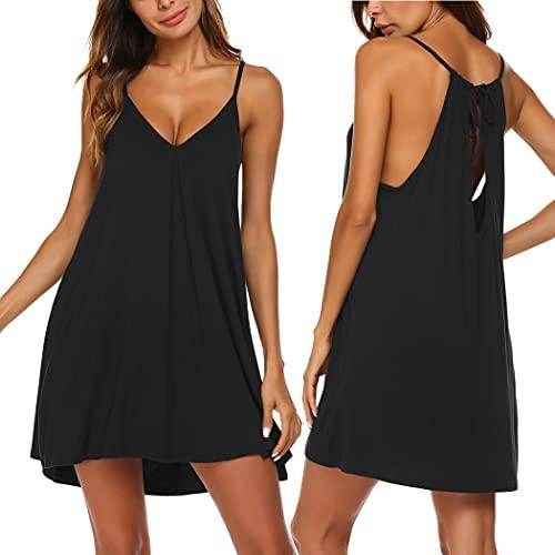 Ekouaer Womens V Neck Sleeveless Nightgown Sleepwear Summer Slip Night Dress,Black,Medium