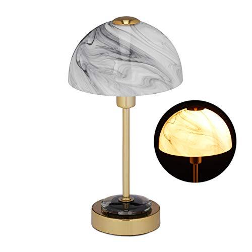 Relaxdays Tischlampe, Glasschirm in Marmoroptik, Metall-Fuß, E14, Moderne Nachttischlampe, HxD: 33,5 x 18 cm, Gold/grau