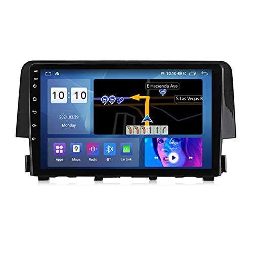 ADMLZQQ Android 10.0 Navegación GPS Radio para Automóvil para Honda Civic 2015-2020, Pantalla Táctil 9 Pulgadas con Carplay FM Am Bluetooth DSP Cámara Trasera Control del Volante,M200s 8core 2+32g