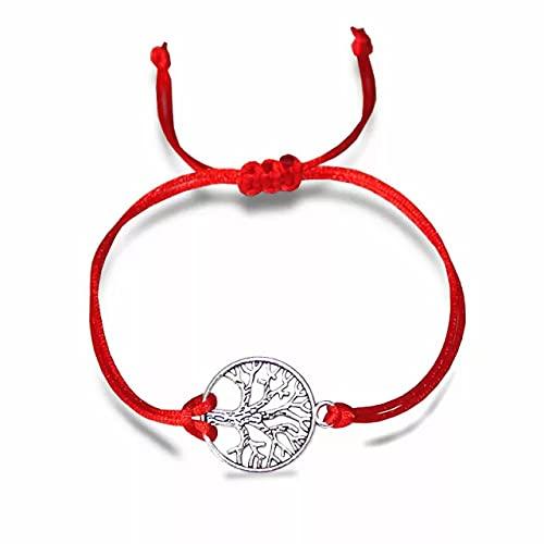 Pulsera con árbol de la vida, pulsera de la suerte, unisex, pulsera de nailon + bolsa para joyas gratis (banda de nailon rojo)