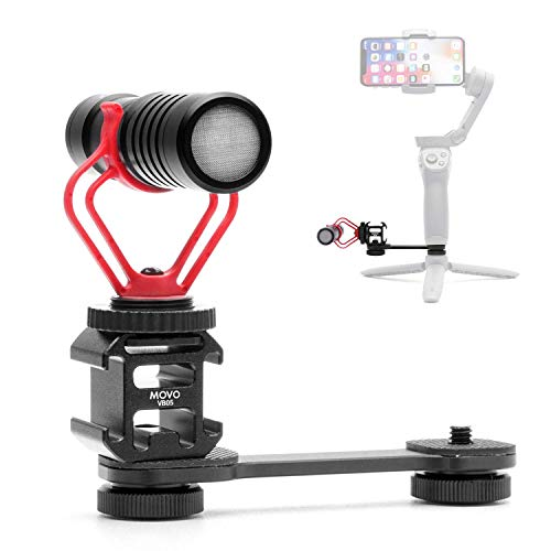 Movo Microphone and Motorized Gimbal Extension Bundle - Includes The Movo VXR10 Shotgun Mic and Triple Shoe Extension Video Mounting Bracket