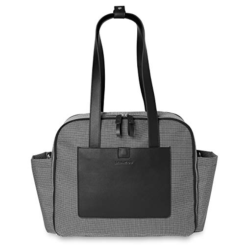 Skip Hop Diaper Bag Tote Madison Square, Multi-Function Baby Travel Bag with Changing Pad, Black & White Mini Grid