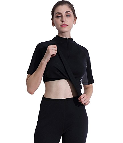 Valentina Hot Body Shaper T Shirt, SCR Slimming Shapewear, Workout Sweat Sauna Suit, Stomach Fat Burner, Perfect Abdominal Trainer, Weight Loss Bodysuit for Women, Black S - 4XL