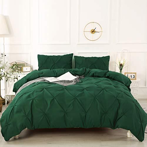 Litanika Queen Pinch Pleat Duvet Cover Dark Green, 3 Pieces Pintuck Comforter Cover Soft Microfiber Bedding Set with Zipper Closure & Corner Ties(90x90Inch-1 Duvet Cover, 2 Pillowcases)