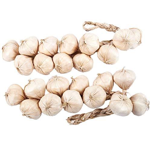 Vaorwne Knoblauch Schnüre/Künstliches Gemüse/Künstliches Knoblauch Zubeh?r 46Cm- 1 Paar