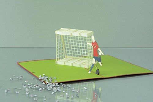 Sport 3-D Pop Up Grußkarte Geburtstag Handmade Fußball Tor 10x17cm