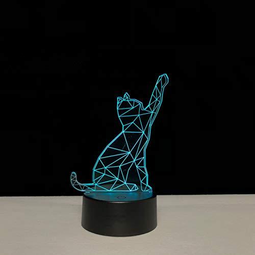Sanzangtang Led-nachtlampje, 3D-vision-zeven, kleuren-afstandsbediening, dier, kat verlichting, sfeer, gadget, veelkleurig, kindertafel, nachtlampje, kinderkamer/nachtlampjector