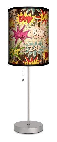 Lamp-in-a-box Sps-var-vnbam différents vintage Bande dessinée Bam POW Sport lampe, 17,8 x 17,8 x 50,8 cm, Argent