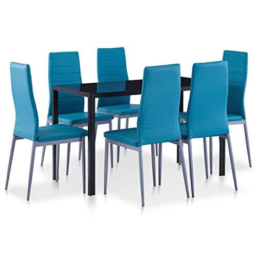 UnfadeMemory Conjunto de Mesa y Sillas de Comedor Cocina,Juegos de Muebles de Comedor,Elegante y Moderno,Silla de Cuero Artificial (7 Piezas, Azul)