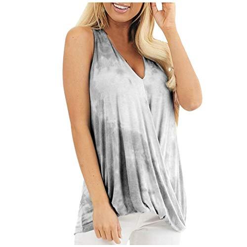 Amazing Deal SSDXY Women Tank Tops Sleeveless Gradient Tie Dye Flowy Tunic Summer Cute Twist Knot Ve...