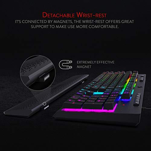 Redragon Shiva K512 RGB Backlit Membrane Gaming Keyboard with Multimedia Keys, Quiet Mechanical Feeling Keyboard, 6 Extra On-Board Macro Keys, Dedicated Media Control, Detachable Wrist Rest