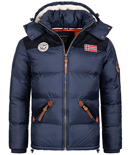 Geographical Norway Herren Winterjacke Jacke Steppjacke Wanderjacke Herren Jacken Warm Parka Softshell Jacke Outdoorjacken Kurz-Mantel Kapuze H-253 Navy L