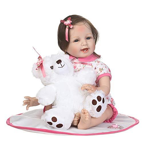 Silikonpuppen-Decke, 56 cm, lebensechtes Design, rosa Shorts, Haarklammer, weißer Bär, für frühkindliche Kinder, Babyspielzeug