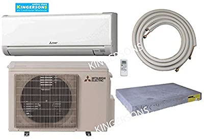 Mitsubishi 12,000 BTU SEER 18 Wall Mount Ductless Mini-Split Inverter Cool & Heat Pump System 1 Ton Energy Efficient with Lines & Pads