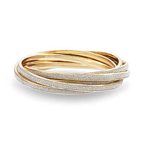 Steve Madden Yellow Gold Tone Glitter Design Interlocking Bangle Bracelet For Women ( Yellow ), one size (SMB488496GD)