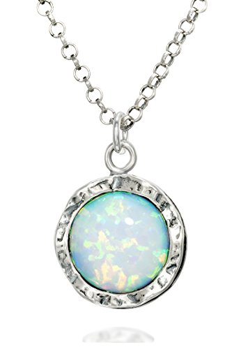 Shimmering 925 Sterling Silver Necklace with Round Created White Opal Pendant, 18' + 4' Extender