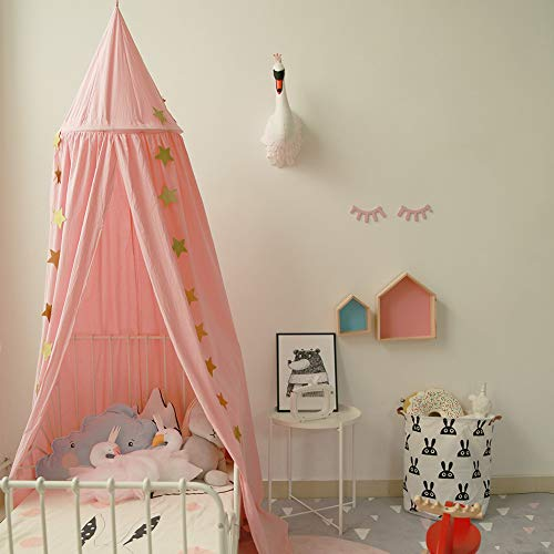 Toldo de cama para niños, cúpula redonda, decoración de guardería, mosquitero de algodón, tiendas de campaña para niños, decoración de habitación para bebé (Rosa)