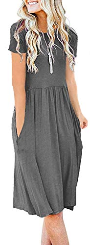 Women Solid Plain Pockets Empire Waist Loose Swing Casual Midi Spring Dress with Sleeve Charcoal Heather (M,Gray) (Apparel)