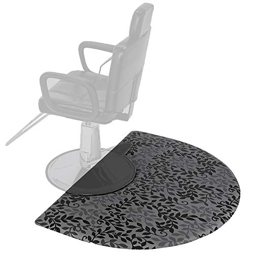 Mefeir 3' x 4' Semi Circle Salon Mat Anti Fatigue for Hair Stylist, 5/8'' Thick Standing Floor Matt Under Styling Chair, Anti-Slip Warterproof Beauty Barber Supplies,Leaf Lines Color