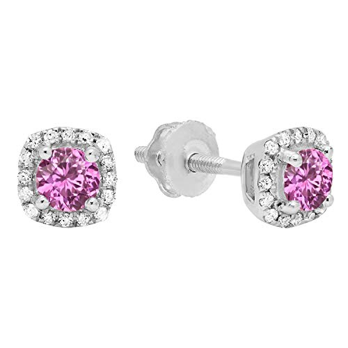 Dazzlingrock Collection 3.5 mm Each Round Pink Sapphire & White Diamond Ladies Halo Style Stud Earrings, 10K White Gold