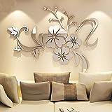 Asvert Stickers Autocollants Muraux 3D Miroir Fleurs pour Décoration de la Maison