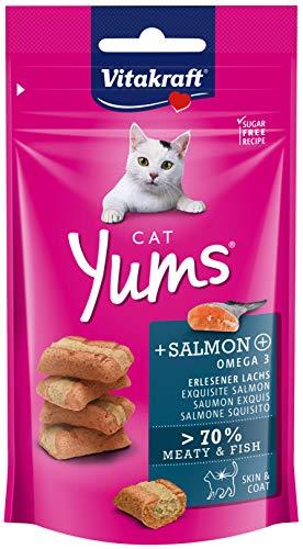 VITAKRAFT Cat Yums - Bouchées Moelleuses pour Chat au Saumon 9 Sachet de 40 gm