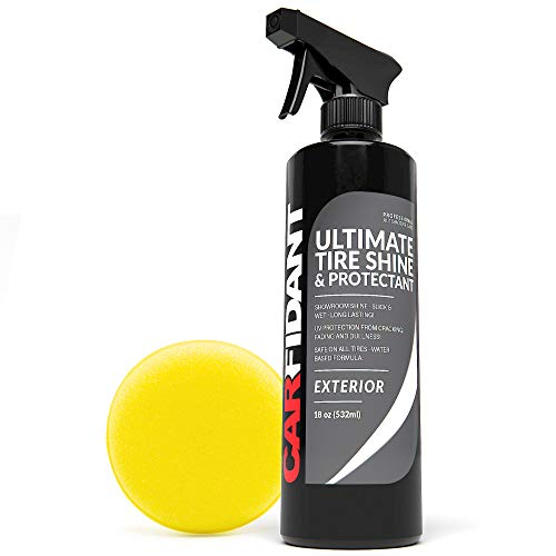 Carfidant Ultimate Tire Shine Spray - Tire Dressing & Protectant Kit - Dark, Wet Looking Wheels with No Grease and No Sling! Use with Wheel & Tire Cleaner