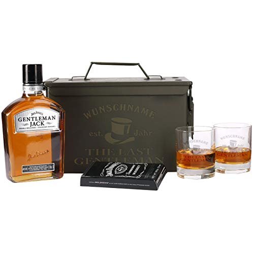 Herz & Heim® 5-tlg Whiskey Set 2 Gläsern mit Gravur, Gentleman Jack + Orginal Munitionskiste