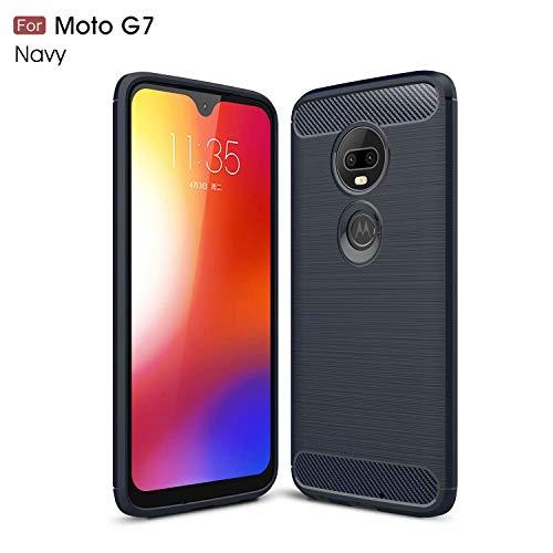 TiHen Funda Motorola Moto G6 Play, Rugged Armor Funda (2019) Carbon Fibre Texture Silicona TPU Bumper antigolpes Fundas Carcasas [con Pantalla de Vidrio Templado]para Motorola Moto G6 Play,Azul