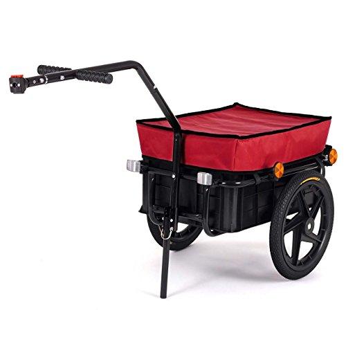 SAMAX Transportanhänger Fahrradanhänger Lastenanhänger Fahrrad Anhänger Handwagen mit Kunststoffwanne für 60 Kg / 70 Liter in Rot - weitere Farben verfügbar