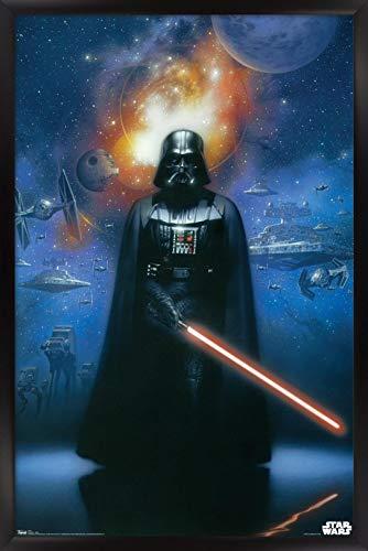 Trends International Star Wars: Saga - Vader in Space Wall Poster, 22.375' x 34', Black Framed Version