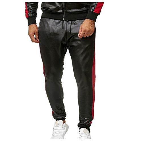 NUSGEAR 2021 Nuevo Pantalones Hombre, Moda Pantalones de Cuero Casual Deportivos Pants Jogging Fitness Gym Slim Fit Pantalones de Moto Largos Pantalones con Bolsillos Ropa de Hombre Trekking Hombres