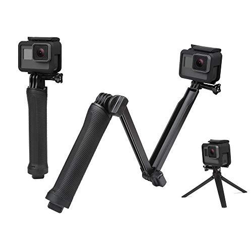 Sounce 3-Way Monopod Grip Tripod Foldable Selfie Stick, Stabilizer Mount Holder for GoPro Hero 7/6/5, SJCAM SJ6, SJ7, SJ5000, Yi and All Action Cameras