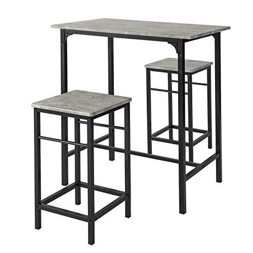 SoBuy OGT10-HG Set de 1 Table + 2 Tabourets Table Mange-Debout Table Haute Cuisine Ensemble Table de Bar bistrot + 2 tabourets avec Repose-Pieds