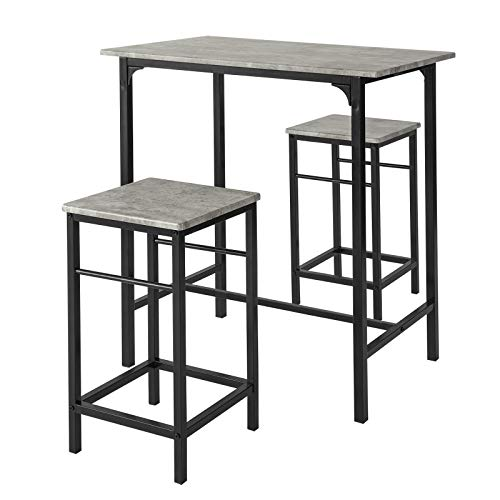 SoBuy® OGT10-HG Set de 1 Table + 2 Tabourets Table Mange-Debout Table Haute Cuisine Ensemble Table de Bar bistrot + 2 tabourets avec Repose-Pieds
