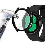 Acadeny Custodia rigida compatibile con Samsung Galaxy watch 4 40mm con pellicola protettiva, 9H Durezza Hart PC Case sottile in vetro temperato per watch 4 40mm, nero