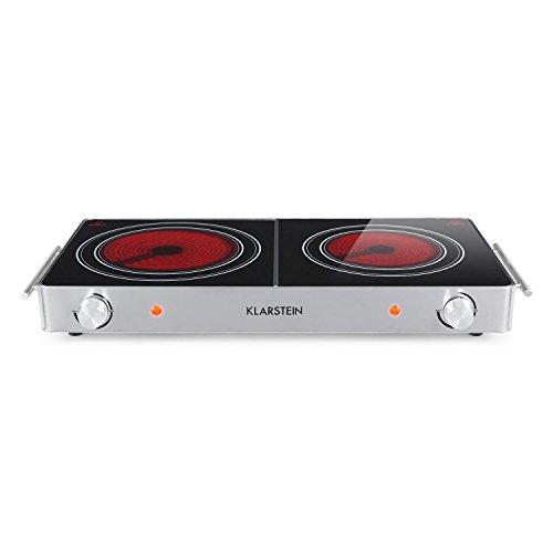 Klarstein VariCook Duo - Placa de cocina eléctrica, Potencia 3000 W, Cocción infrarrojos, Fogones de 20 y 16,5 cm, Vitrocerámica, Temperatura regulable, Mangos, Carcasa de aluminio, Plateado