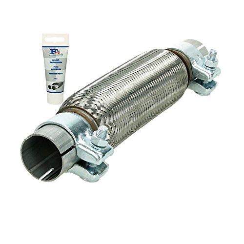 ECD Germany Flex Tubo Universal Acero Inoxidable Interbloqueo 45 x 230 mm con 2 Abrazaderas Montaje sin soldadur + Pasta de Escape 60 g