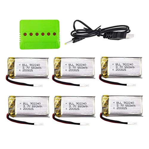 F-Mingnian-rsg Batteria per Drone 6PCS 3. 7V 550mah Batteria al Litio con Caricatore Durevole 6in1 per SP300 ZF04 Batteria per Drone quadricottero con rilevamento dei gesti