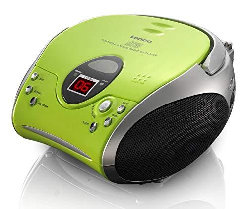 Lenco Radio CD-Player SCD-24 tragbares Stereo UKW-Radio mit CD-Player und Teleskopantenne in hellgrün