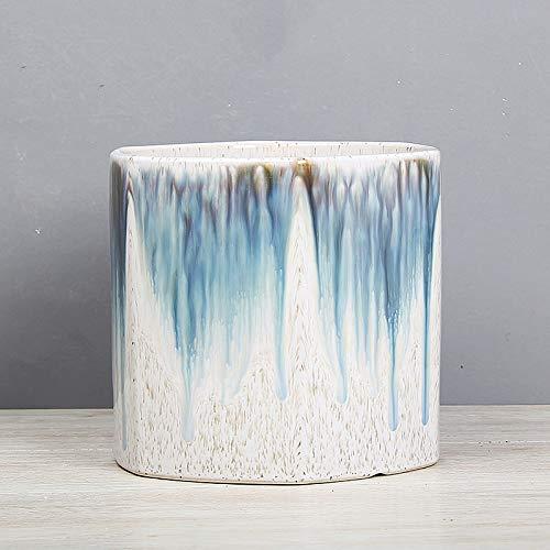 Faturt Hexagonal Tiesto de cerámica Simple multifacético Sala Pavimento Plantación de Árboles Grande Tiesto con Bandeja nórdica Estilo de Ministerio del Interior del jardín Tiesto (tamaño : S)