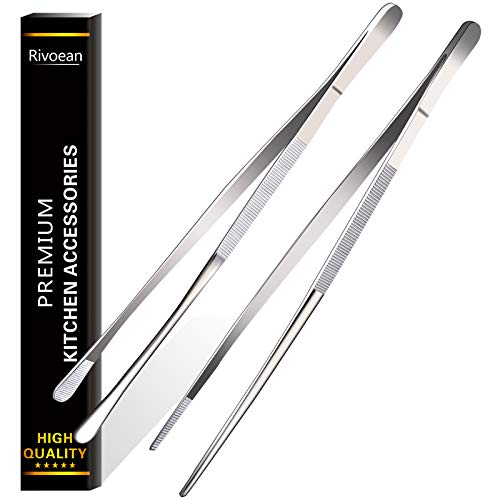 Rivoean 2 Pcs 12-Inch Fine Tweezer Tongs,Extra-Long Stainless Steel Tweezers Tongs