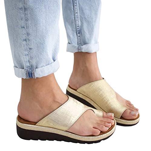 Women's Toe Loop Sandal, Platform Wedge Ladies Big Toe Correction Sandal (Golden, 10)